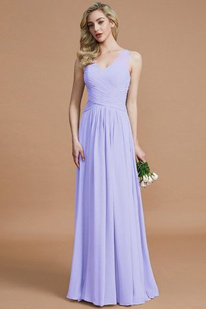 Natural Waist Floor Length A-Line V-Neck Bridesmaid Dress - 22
