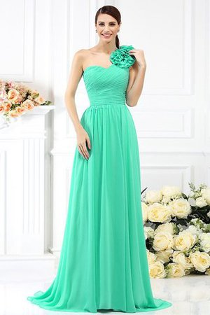 Chiffon A-Line One Shoulder Long Flowers Bridesmaid Dress - 15