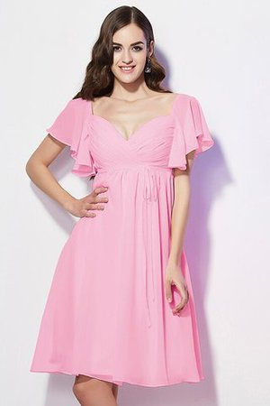 Ruffles Knee Length Short Sleeves Sweetheart Bridesmaid Dress - 23