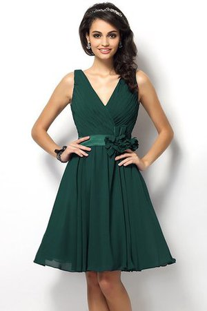 Draped A-Line V-Neck Natural Waist Bridesmaid Dress - 9