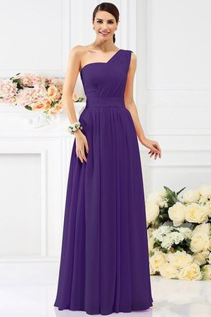 Pleated Long A-Line One Shoulder Bridesmaid Dress - 24