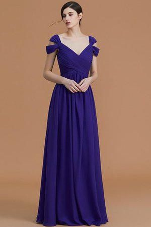 Natural Waist A-Line Ruched Floor Length Bridesmaid Dress - 3