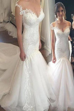 Mermaid Lace Sleeveless Chapel Train Off The Shoulder Wedding Dress - 1