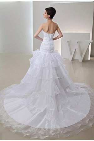 Organza Long Empire Waist Lace-up Beading Wedding Dress - 2