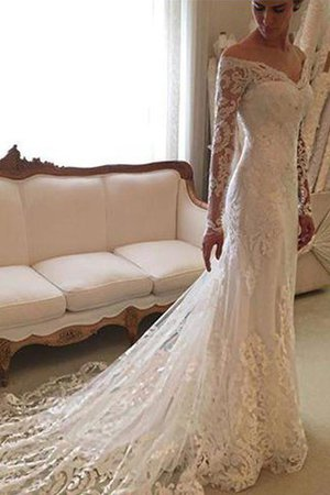 Off The Shoulder Lace Sheath Long Sleeves Court Train Wedding Dress - 1