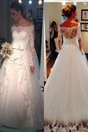 Long Sleeves Natural Waist Tulle Off The Shoulder Sweep Train Wedding Dress - 1
