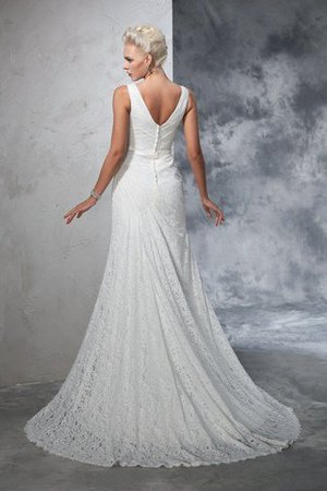 Sleeveless Mermaid V-Neck Lace Natural Waist Wedding Dress - 2