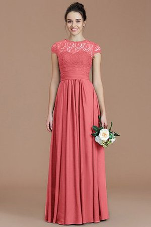 Chiffon Floor Length A-Line Jewel Short Sleeves Bridesmaid Dress - 33