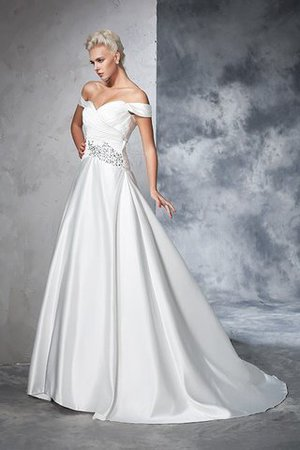 Long Taffeta Ball Gown Natural Waist Ruched Wedding Dress - 4