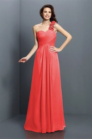 Zipper Up One Shoulder Chiffon A-Line Bridesmaid Dress - 28