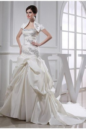 Beading Satin Sleeveless Lace-up Strapless Wedding Dress - 1