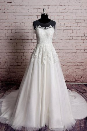 Appliques Capped Sleeves Jewel Natural Waist Floor Length Wedding Dress - 1
