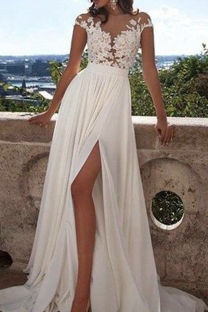Scoop Appliques Short Sleeves Floor Length Princess Wedding Dress - 2