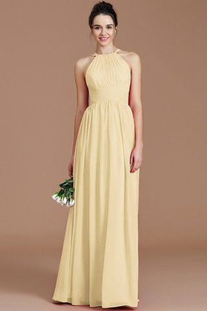 Ruched Floor Length Chiffon Natural Waist Halter Bridesmaid Dress - 10