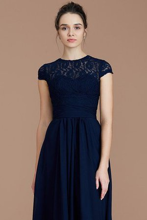 Chiffon Floor Length A-Line Jewel Short Sleeves Bridesmaid Dress - 7