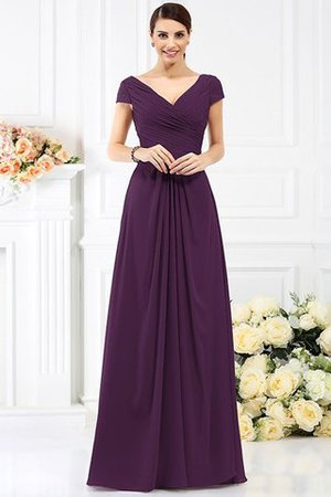Long Empire Waist Pleated A-Line Short Sleeves Bridesmaid Dress - 13