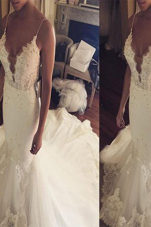 Court Train Sleeveless Natural Waist Lace Tulle Wedding Dress - 1