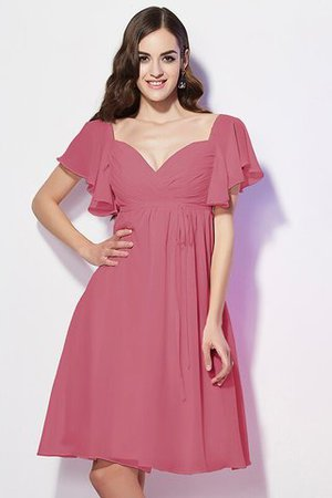 Ruffles Knee Length Short Sleeves Sweetheart Bridesmaid Dress - 28