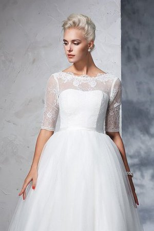 Ball Gown Ankle Length Half Sleeves Lace Long Wedding Dress - 5