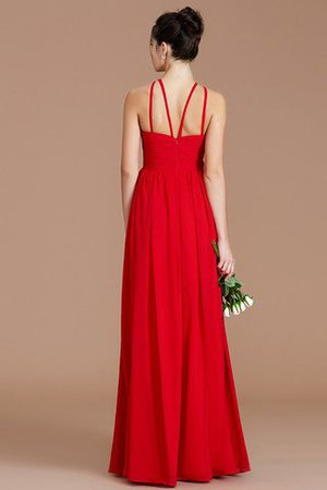 Ruched Floor Length Chiffon Natural Waist Halter Bridesmaid Dress - 34