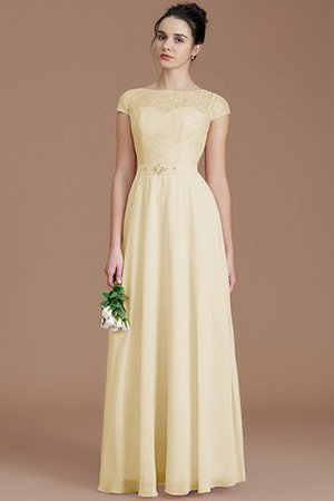 Floor Length Lace Chiffon Natural Waist Zipper Up Bridesmaid Dress - 11