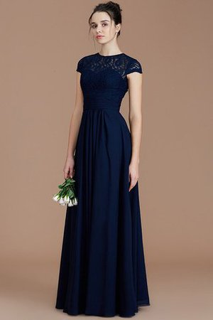 Chiffon Floor Length A-Line Jewel Short Sleeves Bridesmaid Dress - 2