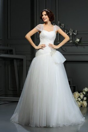 Court Train Sleeveless A-Line Sweetheart Beading Wedding Dress - 1