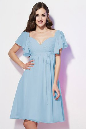 Ruffles Knee Length Short Sleeves Sweetheart Bridesmaid Dress - 17