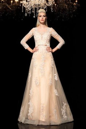 Princess Long Sleeves Zipper Up Appliques Floor Length Wedding Dress - 1