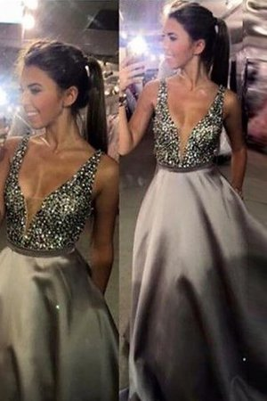 Sleeveless Satin Sweep Train Natural Waist Beading Evening Dress - 1