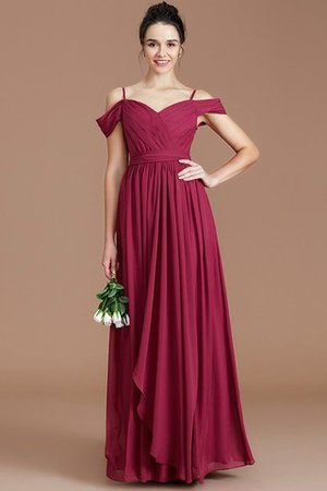 Chiffon Floor Length A-Line Ruched Bridesmaid Dress - 6