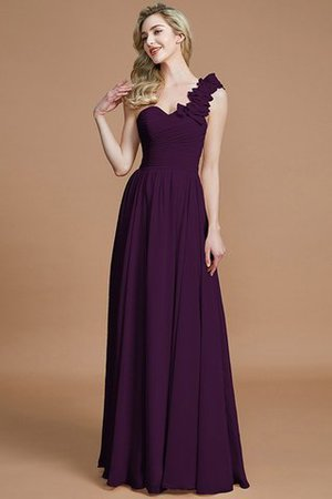Sleeveless Natural Waist One Shoulder A-Line Chiffon Bridesmaid Dress - 18