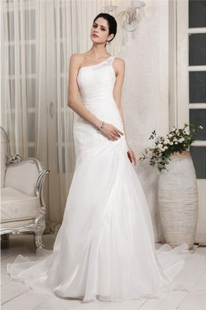 One Shoulder Chapel Train Lace-up Long Organza Wedding Dress - 1