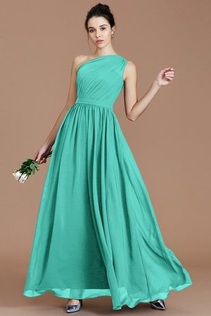 Floor Length Natural Waist Chiffon Ruched One Shoulder Bridesmaid Dress - 19