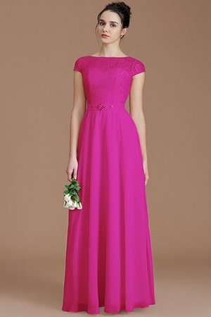 Floor Length Lace Chiffon Natural Waist Zipper Up Bridesmaid Dress - 16