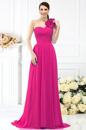 Chiffon A-Line One Shoulder Long Flowers Bridesmaid Dress - 11