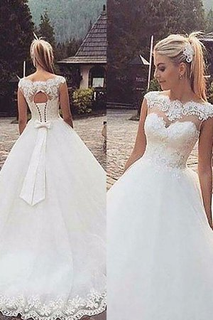 Court Train Ball Gown Tulle Bateau Natural Waist Wedding Dress - 1