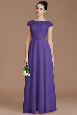 Floor Length Lace Chiffon Natural Waist Zipper Up Bridesmaid Dress - 29