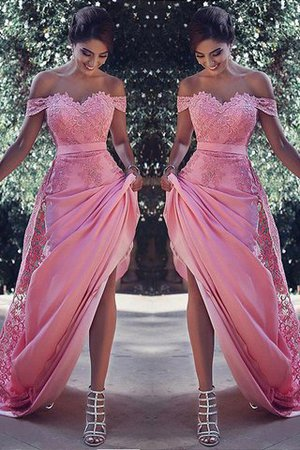 Sheath Satin Silk Like Satin Natural Waist Lace Prom Dress - 1
