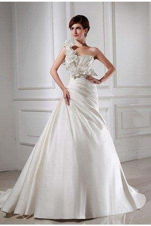 Satin Lace-up Sleeveless Flowers A-Line Wedding Dress - 1