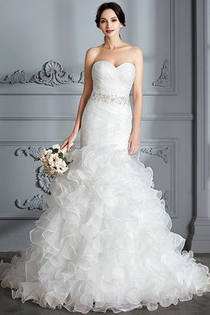 Sweetheart Ruffles Mermaid Sleeveless Sweep Train Wedding Dress - 1