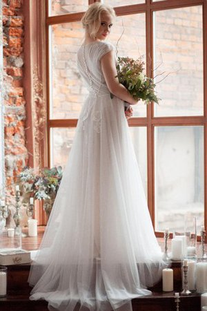 Scoop Tulle Beading Short Sleeves Button Wedding Dress - 2