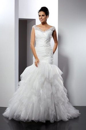 Mermaid Long Sleeveless Appliques Cathedral Train Wedding Dress - 1