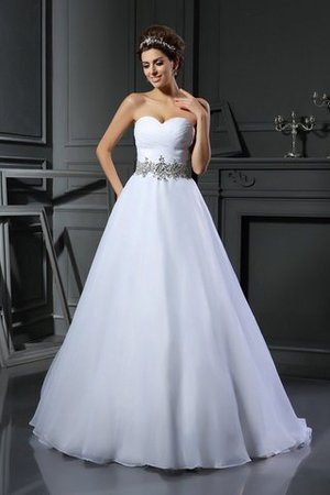 Beading Ball Gown Sleeveless Satin Long Wedding Dress - 1
