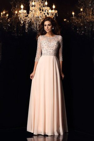 3/4 Length Sleeves A-Line Zipper Up Floor Length Beading Evening Dress - 1