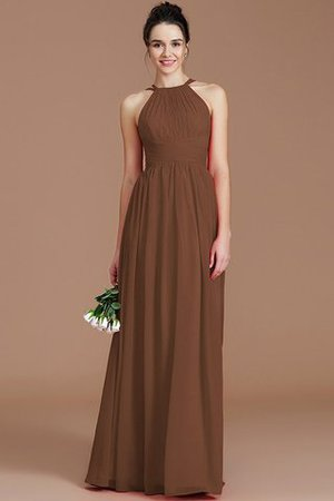 Ruched Floor Length Chiffon Natural Waist Halter Bridesmaid Dress - 8