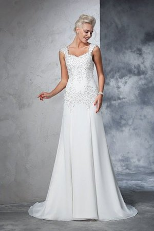 Empire Waist Court Train Sleeveless Chiffon Wide Straps Wedding Dress - 1