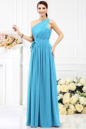 Long Sleeveless A-Line One Shoulder Bridesmaid Dress - 3
