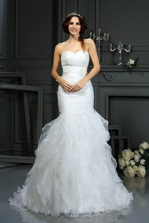 Court Train Sleeveless Organza Mermaid Lace-up Wedding Dress - 1