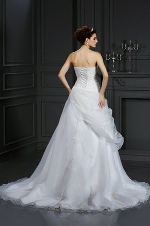 Sweetheart Court Train Organza Sleeveless Lace-up Wedding Dress - 2